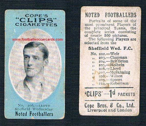 1910 Cope Brothers Noted Footballers 500 series Lloyd Sheffield Wednesday 206